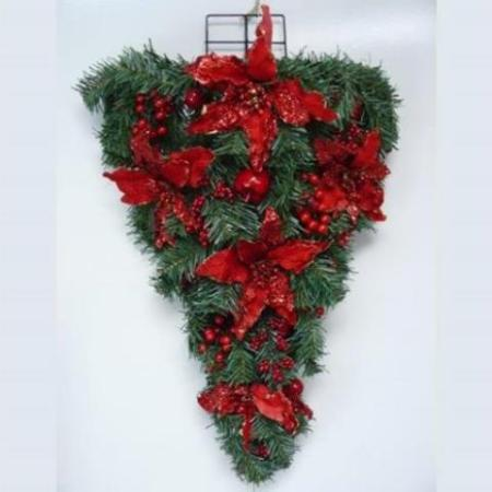 73cm Pre-decorated Hanging  Wall Tree Christmas Decoration in Red
