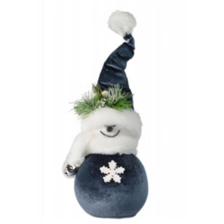 8cm Blue and White Plush Fabric Snowman Christmas Decoration