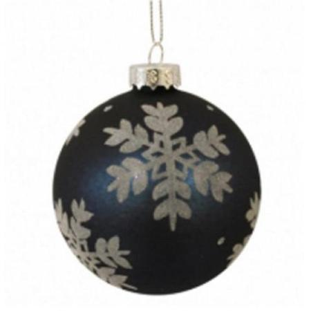 80mm Navy Blue Snowflake Glass Christmas Tree Decoration Bauble