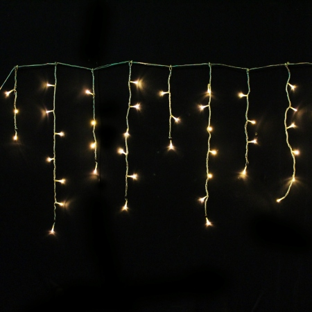 17m 540L Warm White LED Icicle Lights Clear Wire
