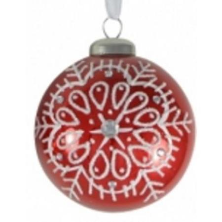 80mm Red Glass Bauble with Glitter & Jewel Christmas Tree Decoration C