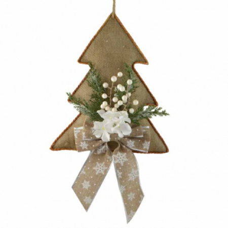 Christmas Tree with White Berries, Pine cones and Bow Wall hanger Christmas Decoration
