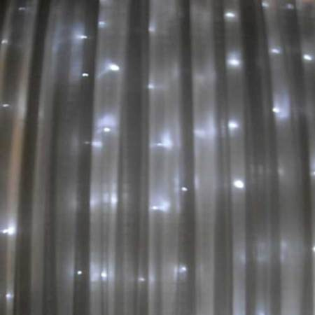 360 light LED Curtain 6 metre x 2.5 metre Drop White on clear wire