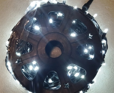 455 LED Commercial Fairy Lights 50 metre White on Black Rubber Cable