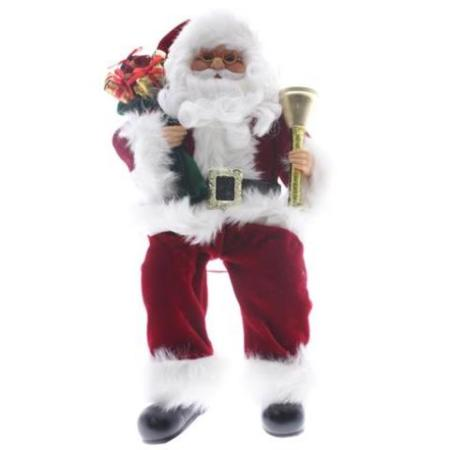 40cm Plush Sitting Santa with Bell and Gift bag Christmas Decoration
