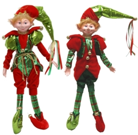 Plush 35cm Red and Green Elf Christmas Decoration New for 2018