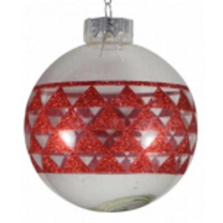 80mm Clear Glass Bauble with Red Geometric Print Christmas Tree Decoration A