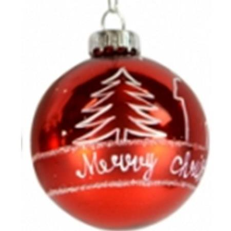60mm Red with White Christmas Scene Glass Bauble Christmas Tree Decoration