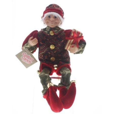 Red and Green Paisley Elf Christmas Decoration
