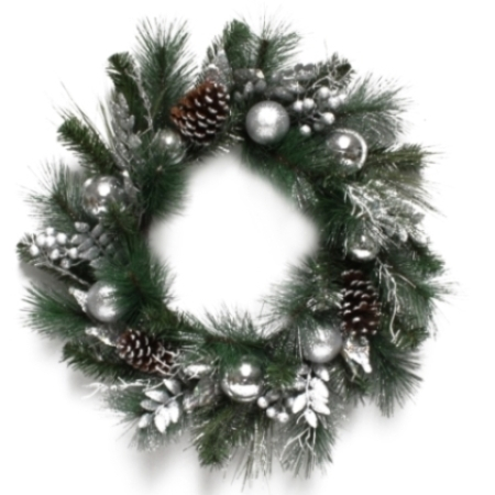 72cm Green Pine Wreath with Silver Cones and Balls Christmas decoration