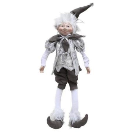 Plush 45cm Silver and Charcoal Elf Christmas Decoration New for 2018
