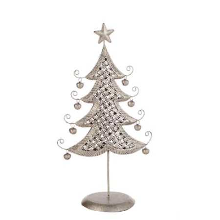 38cm Argent Weave Christmas Tree Table Decoration