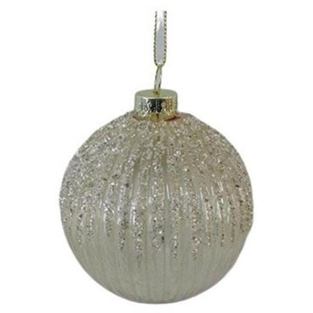 60mm Pearl Gold Glitter Glass Bauble Christmas Tree Decoration B
