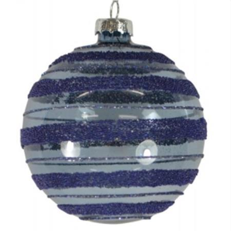 80mm Blue Textured Striped Glass Bauble Christmas Tree Decoration