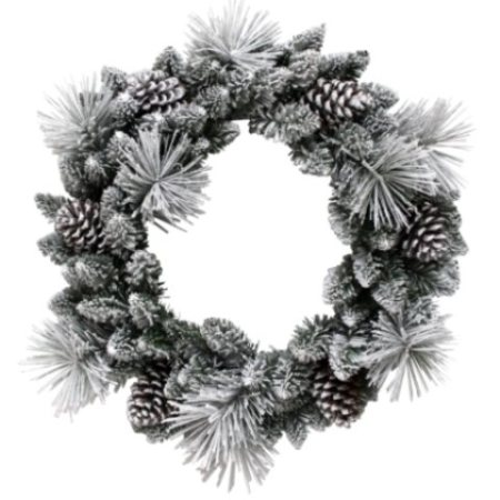 60cm Thick Bushy White Frosted Pine Wreath with Frosted Pine Cones Christmas decoration
