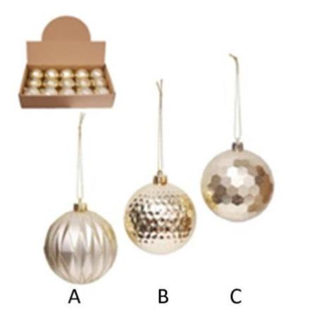 80mm Shatterproof Plastic Champagne Bauble Christmas Tree Decoration 3 Assorted