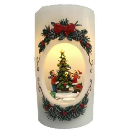 Children Decorating Christmas Tree LED Wax Candle