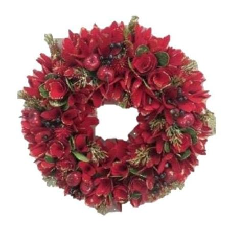 47cm Red Wood flower Wreath Christmas Decoration