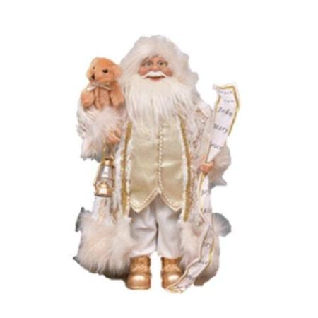 45cm Standing Gold Trim Santa with Teddy and List Christmas Decoration
