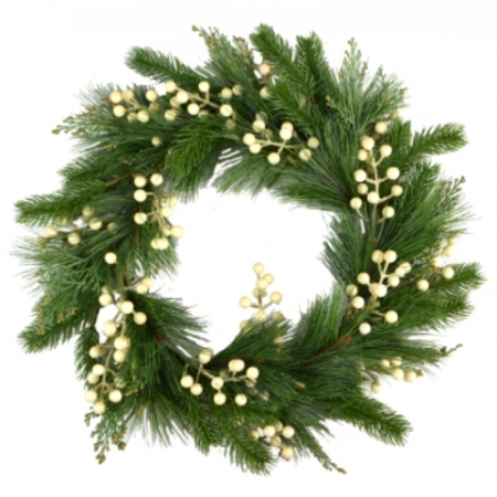 50cm White Berry and Pine Leaf Wreath Christmas Decoration