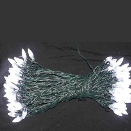 104 White Led Commercial Fairy Lights on Green Wire 31 metres