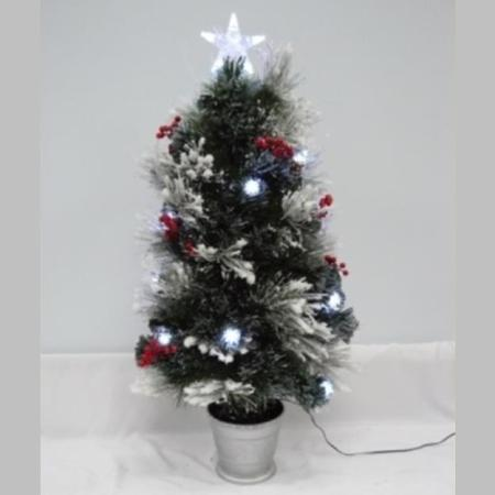 90CM Snow Frosted Christmas tree with Pine/Berries and Led Lights
