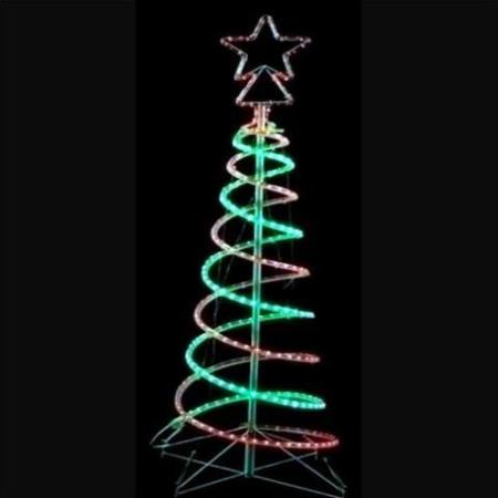 1.5m LED Red & Green 3D Spiral Christmas Tree - Outdoor LED Red And Green Rope Light 3D Spiral Christmas Tree 1.5 Metres