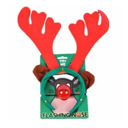 Christmas Reindeer Antlers with Flashing Red Nose Headband