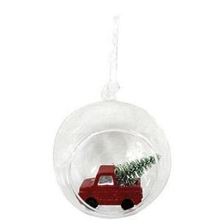 80mm Clear Glass Christmas Tree Bauble with Red Car Inside