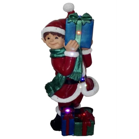 LED Ceramic Elf with Gifts Christmas Decoration with Lights