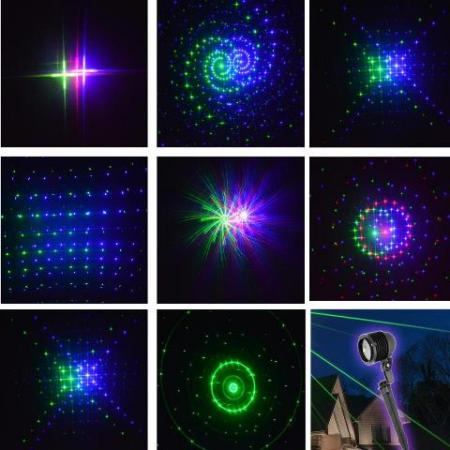 Outdoor Moving Led Red Green and Blue Twelve Pattern Laser Christmas Light with Remote