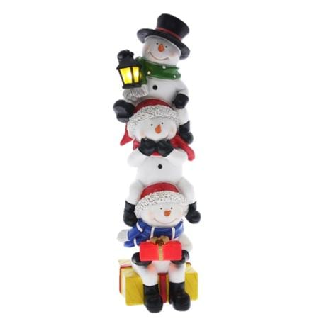 30cm Light up LED Ceramic Triple Snowman Stack with Lantern Christmas Decoration