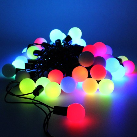 20m 200 Auto Colour Changing Multi Colour Fairy Ball Lights on Green Wire