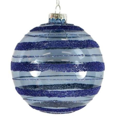 100mm Blue Textured Striped Glass Bauble Christmas Tree Decoration