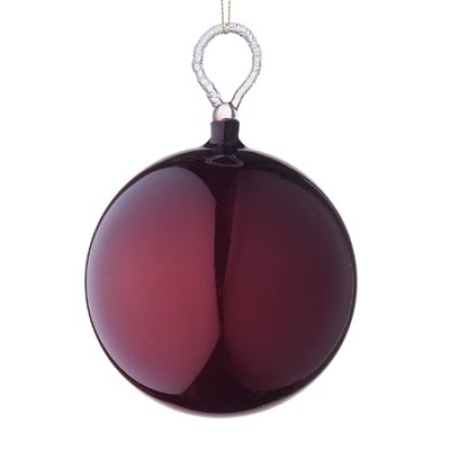 125mm Gloss Burgundy Glass Bauble Christmas Tree Decoration