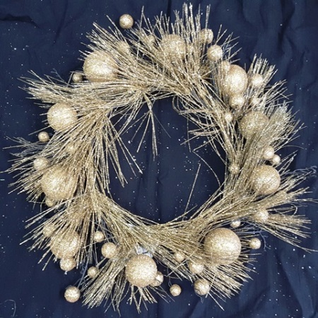 45cm Gold Glitter Bauble Christmas Wreath