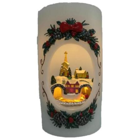 Christmas Scene with Rotating Train LED Wax Candle