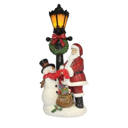 38cm Light up LED Ceramic Santa & Snowman with Lamp Post Christmas Decoration