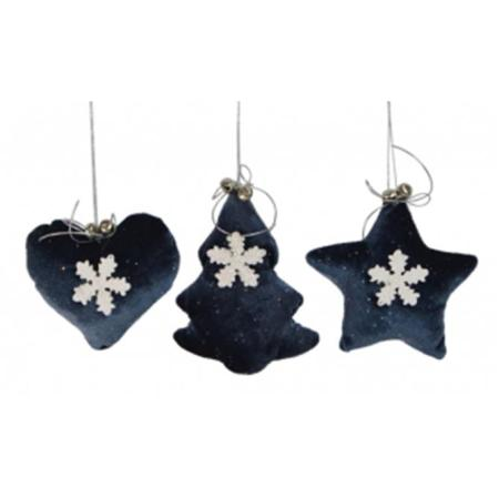 11cm Blue and White Fabric Hanging Christmas Decoration 3 Assorted