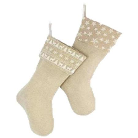 Burlap Natural & White Christmas Stocking decoration