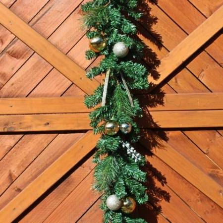 180cm Green Garland with Champagne Gold Decorations