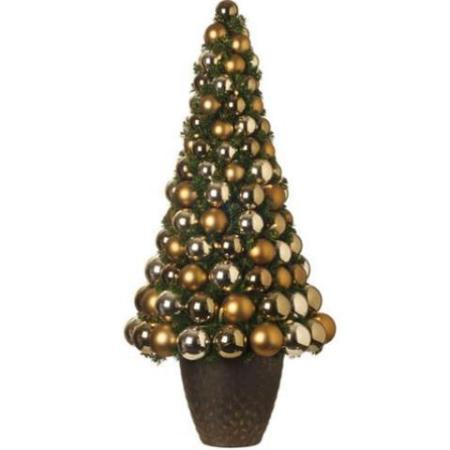 60cm Gold Bauble Christmas Tree in Pot with Battery Operated Lights