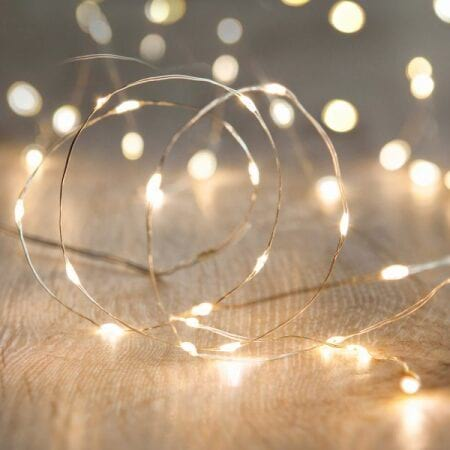 40L 3.9m Battery Operated LED Warm White Seed Fairy Lights on wire cable
