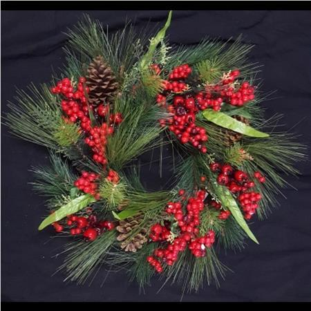 60cm Red Berry Pine Cone Christmas Wreath with twine