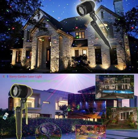 Outdoor Moving Led Red Green and Blue Starry Firefly Laser Christmas Light with Remote