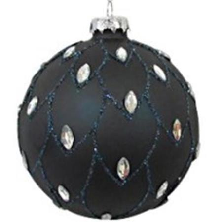 60mm Blue Beaded Glitter Glass Bauble Christmas Tree Decoration