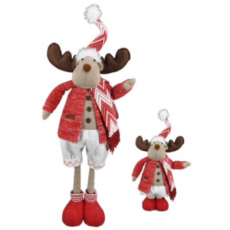 74cm Extending Legs Red Jacket Moose Christmas Decoration