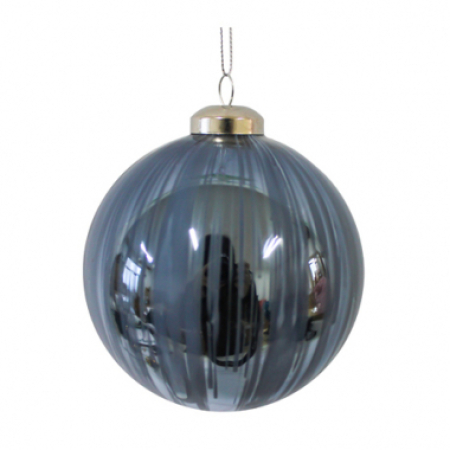80mm Blue Brushstrokes Glass Christmas Tree Decoration Bauble
