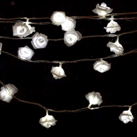 40L Battery Operated Rose String Wedding Lights White 4m