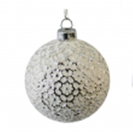 80mm Matt White Embossed Glass Christmas Tree Decoration Bauble C